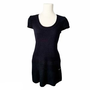 BCBG Wool Blend Black Short Sleeve Sweater Dress